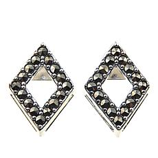 Marcasite Diamond-Shaped Sterling Silver Stud Earrings