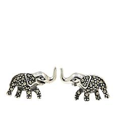 Marcasite Elephant-Design Stud Earrings