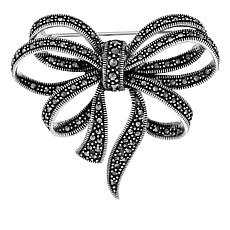 Marcasite Sterling Silver Bow Pin
