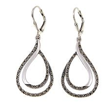 Marcasite Sterling Silver Double Teardrop Dangle Earrings