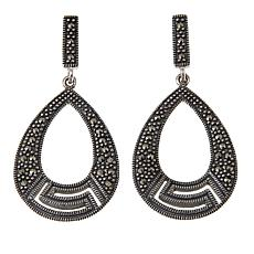 Marcasite Sterling Silver Open Teardrop Earrings