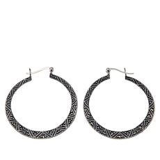 "Marcasite Sterling Silver ""Tribal Design"" 1-5/8"" Hoop Earrings"
