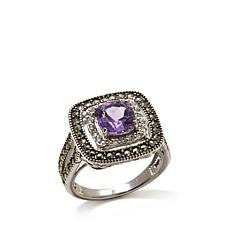 Marcasite, White Topaz & Amethyst Sterling Square Ring