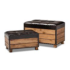 Marelli Faux Leather Upholstered Storage Trunk Ottoman 2-Piece Set