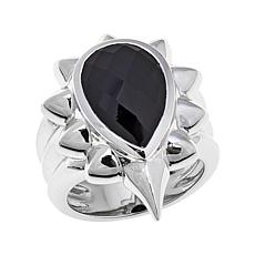 "Margo Manhattan Faceted Black Onyx ""Raya"" Ring"