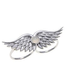 Margo Manhattan Moonstone Angel Wing 2-Finger Ring