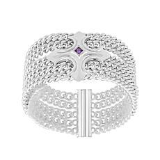 Margo Manhattan Sterling Silver Amethyst 5-Chain Cross Bracelet