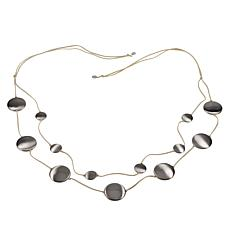"MarlaWynne 62"" Multi-Circle Suede Cord Station Necklace"