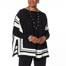 MarlaWynne Border Poncho Sweater