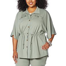 MarlaWynne Button-Front Shirt Jacket with Drawstring Waist