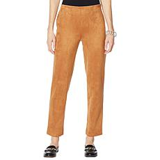 MarlaWynne Faux Suede Straight-Leg Pant