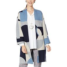 MarlaWynne Geometric Colorblocked Jacquard Topper