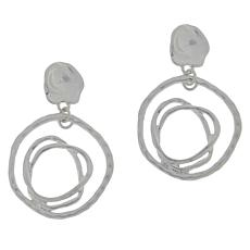 MarlaWynne Hammered Open Freeform Circle Drop Earrings