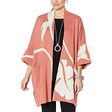 MarlaWynne Jacquard Knit Drama Kimono Topper