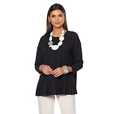 MarlaWynne Lightweight Crepe Shirt with Pleated Hem
