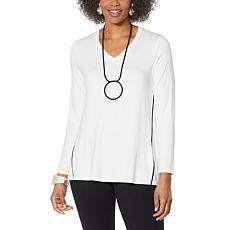 MarlaWynne Piped Seam V-Neck Butterfly Tee