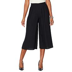 MarlaWynne Pleated Wide-Leg Cropped Pant