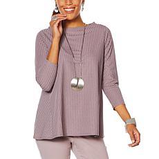 MarlaWynne Refined Rib Knit 3/4-Sleeve Top