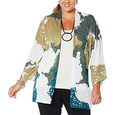 MarlaWynne Semi-Sheer Printed Slub Knit Topper
