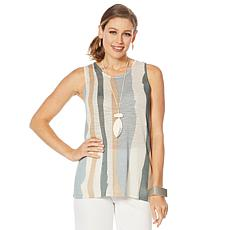 MarlaWynne Semi Sheer Striped Knit Tank