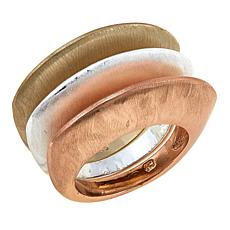MarlaWynne Set of 3 Brushed Metal Dome Stack Rings
