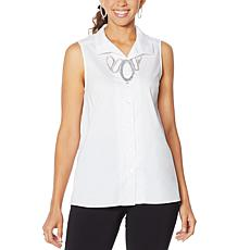 MarlaWynne Stretch Poplin Sleeveless Shirt