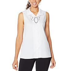 MarlaWynne Stretch Poplin Sleeveless Shirt