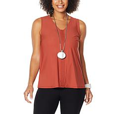 MarlaWynne Stretch Tech Tank with Front Pleats