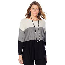 MarlaWynne Striped Dolman Tunic Sweater