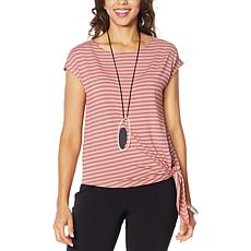 MarlaWynne Striped Side Tie Tee