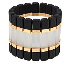 "MarlaWynne Tri-Color Bar Goldtone 6-5/8"" Stretch Bracelet"