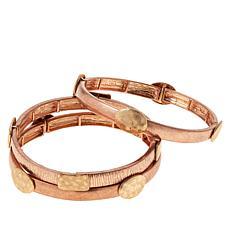 MarlaWynne Two-Tone 3-piece Stretch Bracelet Set