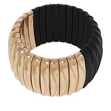 "MarlaWynne Two-Tone Rubber and Metal 7"" Stretch Bracelet"
