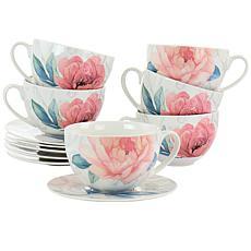 Martha Stewart 12-Piece Ceramic Flora 18oz Cup and Saucer Set in White