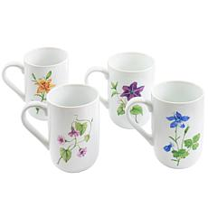 Martha Stewart Botanical Garden 4pc 14.5oz Ceramic Mug Set in White