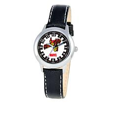 Marvel Iron Man Kid's Time-Teacher Watch with Black Leather Strap