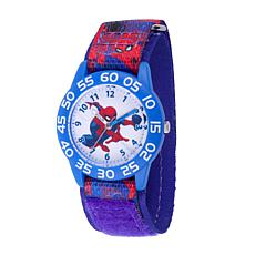 Marvel Spider Man Kids Time Teacher Watch Printed Hook & Loop Strap