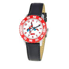 Marvel Spider-Man Kid's Time-Teacher Watch with Black Leather Strap