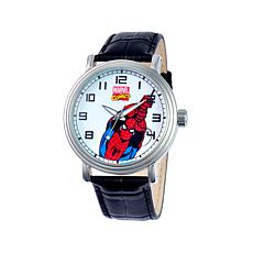 Marvel's Spider-Man Silvertone Black Leather Strap Watch