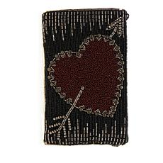 Mary Frances Beaded Heart Phone Pouch
