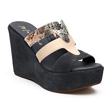 Matisse Gillian 3-Tone Snake-Print Leather Platform Wedge