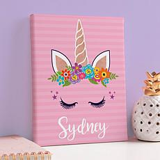 MBM Happy Unicorn Personalized 8x10 Canvas