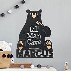 MBM Lil Man Cave Personalized Black Wood Plaque