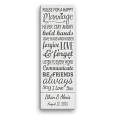 MBM Rules For A Happy Marriage Personalized 9x27 Canvas - Grey