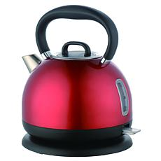 MegaChef 1.7 Liter Cordless Electric Stainless Steel Tea Kettle in Red
