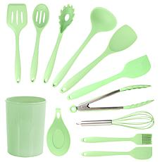 MegaChef Mint Green Silicone Cooking Utensils, Set of 12