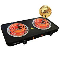 MegaChef Portable Dual Electric Coil Cooktop in Black