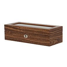 Mele & Co. Laramie Glass Top Wooden Watch Box - Hickory Finish
