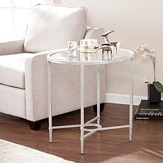 Melinda Metal/Glass Oval Side Table - Silver