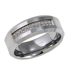 Men's 0.12ctw Diamond Tungsten 8mm Wedding Band